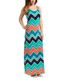 Look at this Gilli Navy Zigzag Maxi Dress on #zulily today!