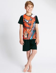 Buy the Cotton Rich Spider-Man™ Short Pyjamas years) from Marks and Spencer's range. Childrens Pyjamas, Boys Pajamas, Young Boys Fashion, Teen Fashion, Spiderman Outfit, Barefoot Kids, Beauty Of Boys, Kids Nightwear, Fashion Showroom