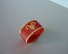 Custom Aries Zodiac Sign Handmade Beaded Ring
