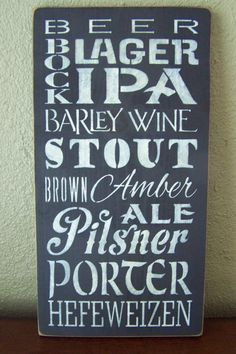 Beer Sign, Styles of Beer, Types of Beer, Beer Typography Sign, Beer Subway Sign, Hand Stenciled Painted Wood Sign