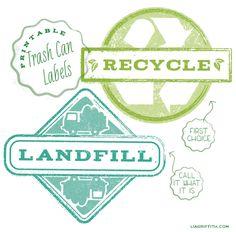 Printable Trash Can Labels