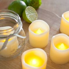 Set of 6 Votive Real Wax Battery Operated LED Tea Light Candles by for sale online Led Candle Lights, Battery Candles, Battery Operated Lights, Battery Lights, Tea Light Candles, Votive Candles, Wedding Table Centres, Crackle Glass, Handmade Candles