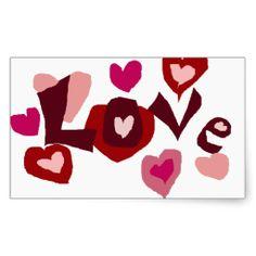 Love and Hearts Primitive Art Design Sticker #love #hearts #art #stickers And www.zazzle.com/inspirationrocks*