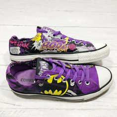 c4204848bb16 RARE Converse All Star Batman Cat Woman DC Comics Low Top Shoes Size Gently  used