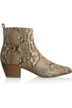 Saint Laurent Python Ankle Boots in Animal (Animal Print)