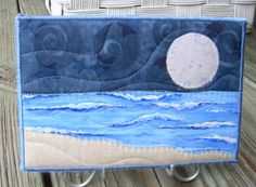 seascape quilts | Big Moon Seascape Fabric Postcard Art Quilt by SewUpscale on Etsy