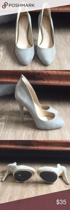 Aldo like new dove grey heels These also heels are a beautiful five grey color! Worn only twice and have sole protectors on the bottom. Such a perfect neutral for any season Aldo Shoes Heels