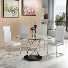 Marseille Glass Dining Table Round In Clear With Chrome Supports And 4 Daryl Dining Chairs In White Faux Leather, would be a fantastic way to improve any dining area. Made of Tempered Clear glass w...