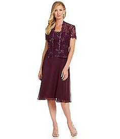 Emma Street 2-Piece Lace Chiffon Jacket Dress