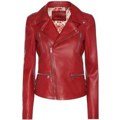 Gucci Leather Biker Jacket ($4,200) ❤ liked on Polyvore featuring outerwear, jackets, gucci, red, red jacket, leather jackets, genuine leather biker jacket and moto jacket