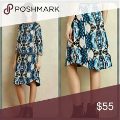 """🆕Anthropologie✨ Moth Modal Skirt My favorite!💕This skirt is so soft and such high quality, I can't say enough about it. Selling my smaller size. Unworn and perfect. Flattering from 140lbs up to 160lbs♥ Looks great with high boots and tights or 1950s pumps!   By Moth Cotton, modal, triexta, viscose sweaterknit Slim silhouette with curved hem detail Pull-on styling/elastic waistband Hand wash Regular: 27""""L  Ships next day!💌 Anthropologie Skirts Asymmetrical"""