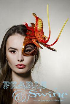 """Lobster Half Mask Fascinator """"Outré"""""""