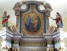 """Caroline Sorg. Anunciación. Alsace, Bas-Rhin, Biblisheim, Église Saint-Jean-Baptiste, Couronnement du maître-autel (1724), Tableau d'autel (XIXe) """"Annonciation"""""""
