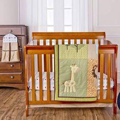 Dream On Me Safari Animals 4-Piece Reversible Portable Crib Bedding Set