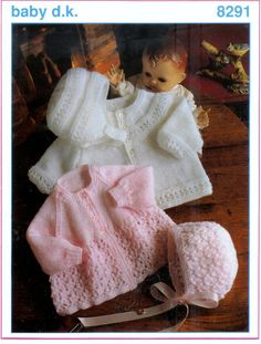 Baby 2 Matinee Jackets Hat and Helmet  in DK / 8ply Sizes 16 - 22 ins - Baby DK 8291 - pdf of  of aVintage Knitting Baby Pattern