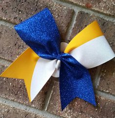 Cheer bow. Royal blue. Glitter. Kick by CurlyNoodleCreations