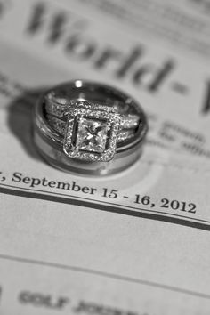 Wedding Ring Shot ~ great idea! Have your photographer take a picture of your rings on a newspaper by the date!