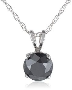 14k Gold Black Diamond Solitaire Pendant (1 cttw)