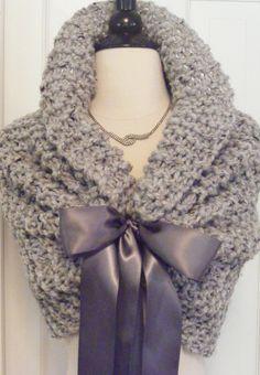Wedding Shawl / Bride Bolero / Shrug / Bolero / Bridal Shawl / Grey Shawl / Custom Hand Knit / Grey Shrug. $98.00, via Etsy.