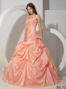 Sweetheart Beading Salmon Colored Pick-ups Quinceanera Dress - Quinceanera 100