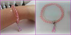Os enseño la pulsera que he hecho para mostrar mi apoyo a la lucha contra el cáncer de mama, espero que os guste.