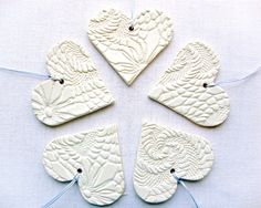 Vintage Lace Hearts in White Porcelain Clay
