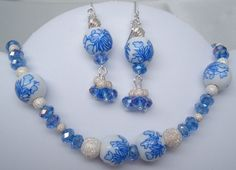 Necklace and earring set from upcycled delft blue beads and new blue crystal beads.  $30