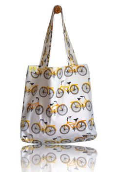 Yellow Bikes Lined Tote Bag - Handmade in London via Etsy Tote Bags Handmade, Totes, Sewing Projects, Bike, Shoulder Bag, London, Yellow, Fabric, How To Make