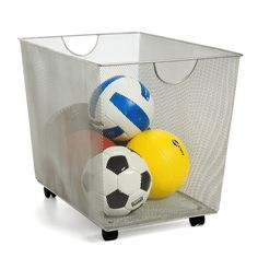 The generous capacity of our Silver Mesh Rolling Bin makes it ideal for collecting laundry, toys, sports equipment, pillows or comforters. The tight weave of the mesh prevents small items from falling through. Rolling Storage Bins, Fabric Storage Bins, Storage Baskets, Container Store, Outdoor Toy Storage, Outdoor Toys, Outdoor Play, Childrens Toy Storage, Children Storage