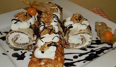 Palačinky bez mouky s tvarohovou náplní – magnilo Waffles, Pancakes, Hungarian Recipes, Sushi, French Toast, Nutella, Low Carb, Gluten Free, Keto