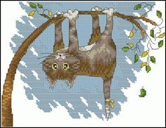 "Cross-stitch pattern ""Help!""   This playful cat hangs upside down and asks for help! This is a  small  and easy cross-stitch pattern for beginners , approximately 16 x  12 cm . You can download it for free using the link below. Pattern Name: Help! Fabric: Aida 16, White 104w X 80h Stitches Size(s): 16 Count, 16.51w X …"