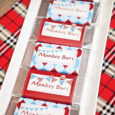 "Rustic Sock Monkey Birthday Party - ""monkey bars"", how cute"