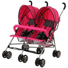 Dream On Me Twin Umbrella Stroller, Pink
