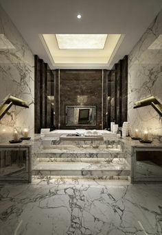 A luxury bathroom will get you halfway to a luxury home design. Today, we bring you our picks for the top bathroom decor ideas that merge exclusive bathroom Bathroom Inspiration, Interior Design Inspiration, Home Interior Design, Design Ideas, Luxury Interior, Design Projects, Mansion Interior, Design Trends, Luxury Decor