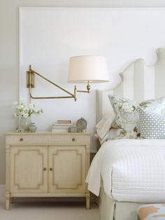 HGTV's Sarah Richardson designed this classic bedroom with soft tranquil colors. 12 Brilliant Interior Design Ideas from Sarah Richardson. #bedroom #tranquil #timeless #classic