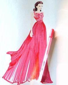 Lady in Red.Zuhair Murad 2016 Resort sketches on blog. @zuhairmuradofficial #ZuhairMurad #fashionillustration #fashion #fashionsketch