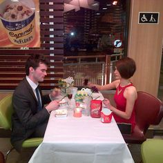 Fancy McDonald's Date. The tablecloth makes it.