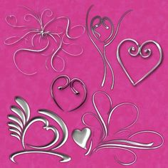 Heartfelt Curlicues - Swirly Heart Design Graphics, Brushes, and Shapes: Heartfelt Curlicues Custom Shapes Set