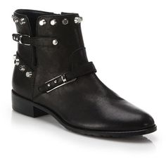 Stuart Weitzman Go West Studded Leather Ankle Boots ($565) ❤ liked on Polyvore