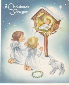 Marjorie Cooper vintage Christmas card - Angels with Baby Jesus in a manger