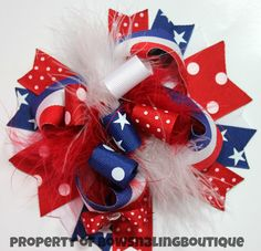 4th of July Hair Bow Red White and Blue Hairbow Fourth of July Boutique Hairbows Patriotic Hair bows Over the top bow on Etsy, $12.99