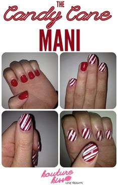 12 Simple And Easy Nails Tutorials, Candy Cane Mani | See more at http://www.nailsss.com/french-nails/3/