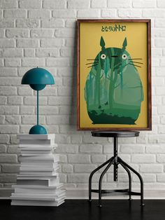 Totoro poster, My neighbor Totoro art, Alternative movie poster, gift for manga lovers