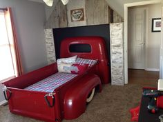 Kids Room: Fascinating Bedroom Idea With Amazing Classic Car Bed For Kids Desk Fur Rug High Gloss Finish Car Bed Library Picture Frame Pouffe Red Quilt Wall Light Amazing Teens Room: Fascinating Bedroom Idea: Creating a Bed from Your Old Car