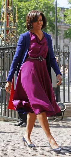 U.S. First lady Michelle Obama wearing a dress by Roksanda at Westminster Abbey in 2011...