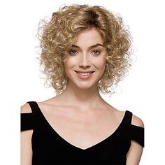 de forma louro mix perucas curto encaracolado sintéticas sem capa de alta qualidade bonitas das mulheres para mulheres de 3280484 2017 por R$64,76