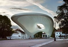 Tubaloon' textile sculpture by Snohetta for the Kongsberg Jazz Festival; Shell Structure, Fabric Structure, Technical Textiles, Scandinavian Architecture, Tensile Structures, Temporary Structures, Textile Sculpture, Futuristic Architecture, Concert Hall