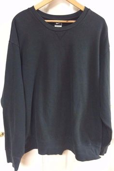 Nike Mens Solid Black Long Sleeve Pullover Sweat Shirt Crew Neck Size XXL 2XL #Nike #SweatshirtCrew