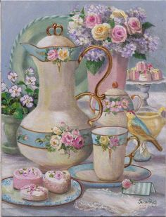 "Susan Rios Keepsake Romantic Tea Art ""A Place to Dream"" 8 x 10 for table or wall. Susan Rios has been a professional artist for over 30 years. Decoupage Vintage, Decoupage Paper, Shabby Vintage, Tee Kunst, Foto Poster, Teapots And Cups, Tea Art, My Tea, Pretty Pastel"