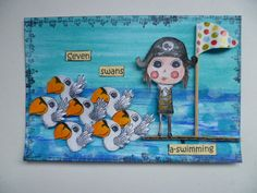 12 Days of Christmas Agathas postcard - Day 7 - seven geese a laying using Agatha Pirate by Magda Polakow for Stampotique